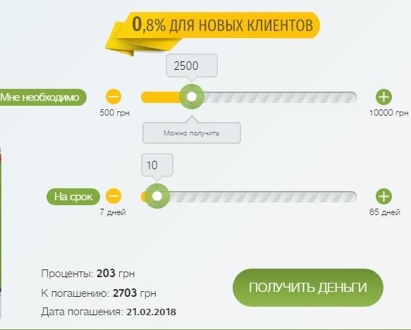 Выбор срока, суммы и номер займа